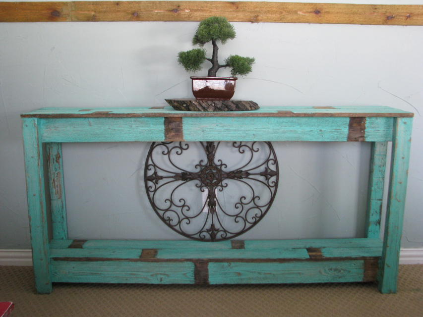 Rustic Sofa Table In Farmhouse Aqua