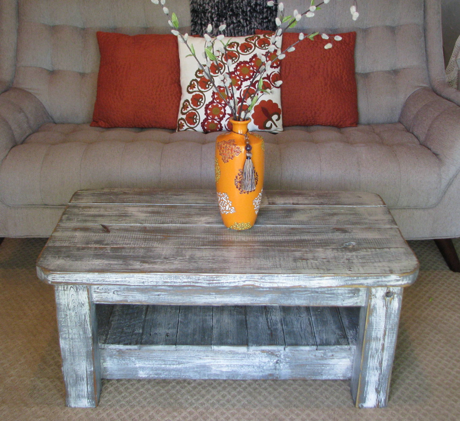 "Rustic Coffee Table with Shelf in ""Weathered Grey"" choose from"