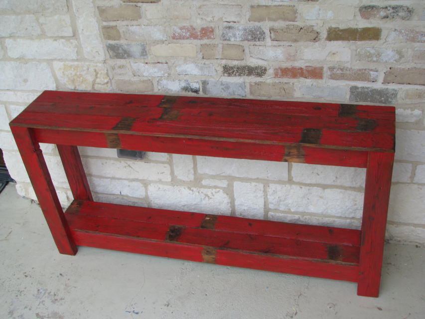 Rustic Sofa Table In Farmhouse Red